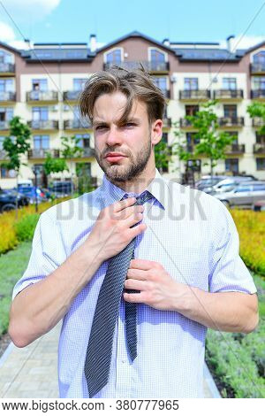 Man In Shirt With Tie Or Businessman With Serious Face