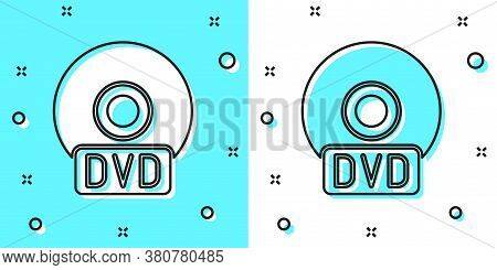 Black Line Cd Or Dvd Disk Icon Isolated On Green And White Background. Compact Disc Sign. Random Dyn