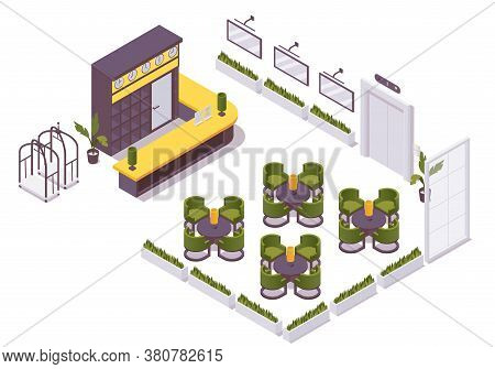 Isometric 3d Interior Hotel Lobby, Hostel. Check In Desk, Hotel Luggage Trolley, Lift, Tables And Ch