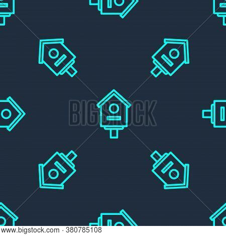 Green Line Bird House Icon Isolated Seamless Pattern On Blue Background. Nesting Box Birdhouse, Home