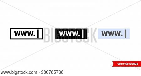 Web Address Icon Of 3 Types Color, Black And White, Outline. Isolated Vector Sign Symbol.