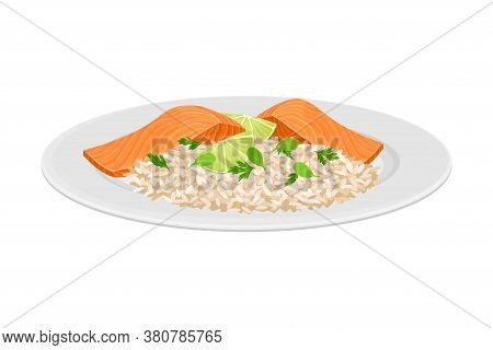 Rice With Salmon Slab Garnished With Lime Slices As Seafood Dish Vector Illustration