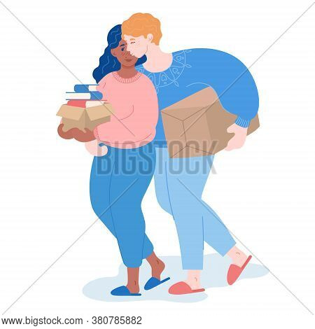 Man And Woman Pack Belongings, Embracing And Kissing. Relocation Of Married Couple. New Dwelling, Ho