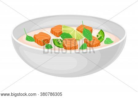 Creamy Soup With Salmon Slabs And Potherbs As Seafood Dish Vector Illustration