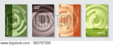 Corporate Magazine Title Pages Collection. Graphic Presentation Circles Swirl Vector Backgrounds. Ai