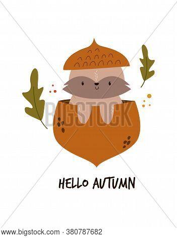 Cute Raccoon Sitting In An Acorn, Autumn Scene. Vector Illustration