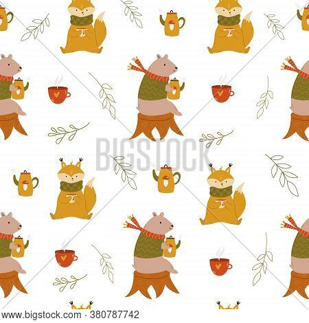 Cute Seamless Pattern With Funny Cute Bears, Teacups, Teapots And Umbrellas