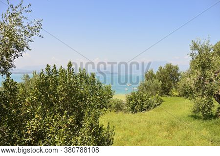 Green Glade On The Background Of The Lake And Blue Sky