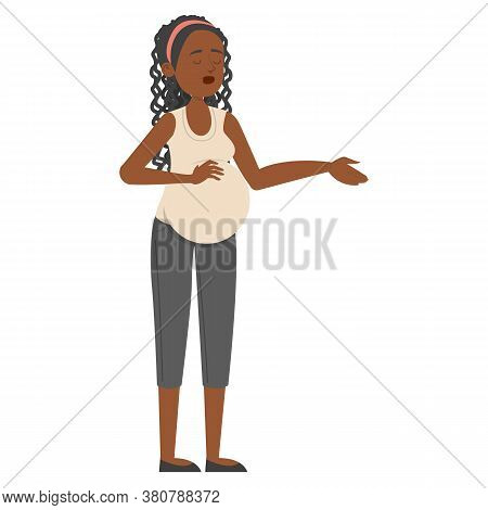 Pregnant Woman Standing And Touching Belly Isolated