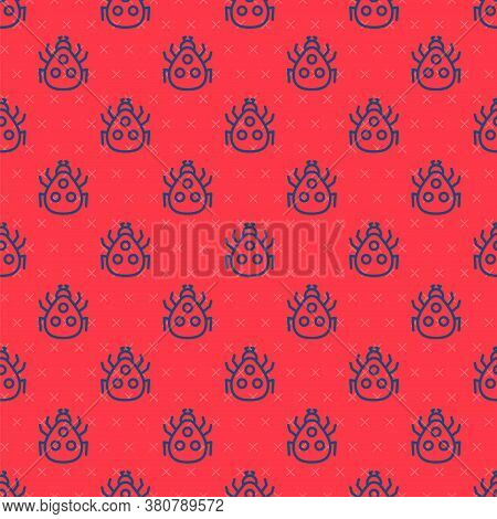 Blue Line Ladybug Icon Isolated Seamless Pattern On Red Background. Vector