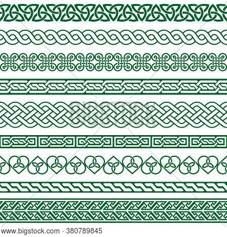 Celtic Vector Seamless Border Pattern Collection In Green, Irish Braided Frame Designs For Greeting