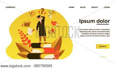 Puzzled Student Making Choice About His Future Career Path Flat Vector Illustration. Young Guy Choos