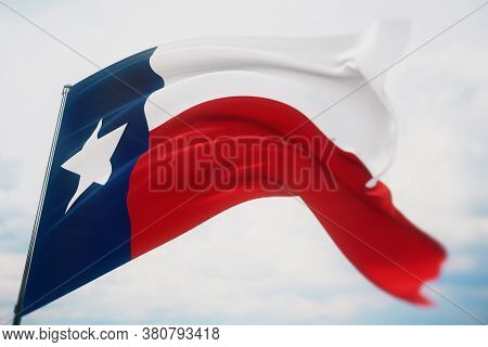 Flags Of The States Of Usa. State Of Texas Flag. 3d Illustration. United States Of America States Fl