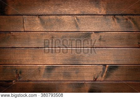 Wood Plank Texture. Dark Grain Panel Board Table With Copy Space. Old Floor Wooden Pattern. Timber P