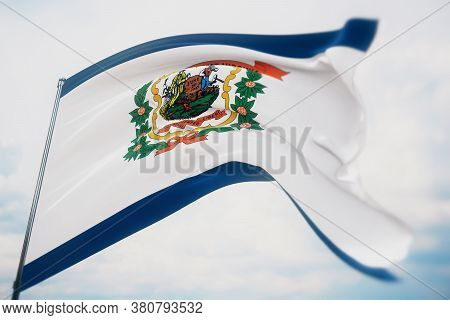 Flags Of The States Of Usa. State Of West Virginia Flag. 3d Illustration. United States Of America S