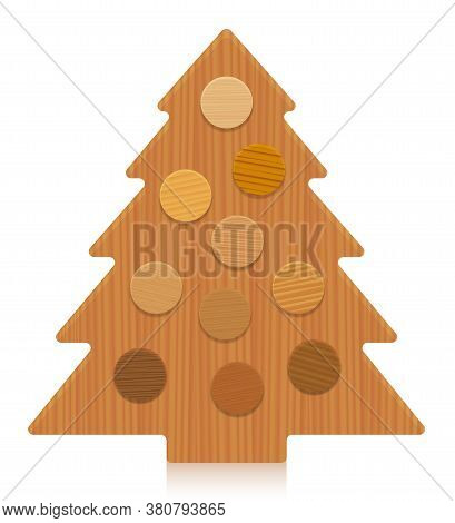 Wooden Christmas Tree With Wood Samples As Christmas Balls, Different Colors And Textures From Vario
