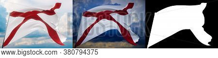 Flags Of The States Of Usa. State Of Alabama 3d Illustration. Set Of 2 Flags And Alpha Matte Image.