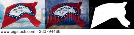 Flags Of The States Of Usa. State Of Arkansas Flag. 3d Illustration. Set Of 2 Flags And Alpha Matte