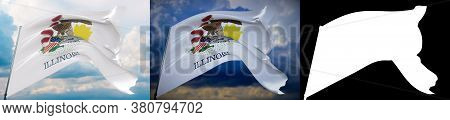 Flags Of The States Of Usa. State Of Illinois Flag. 3d Illustration. Set Of 2 Flags And Alpha Matte