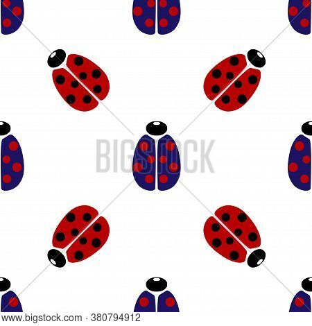 Blue And Red Coccinellidae Icon Isolated Seamless Pattern On White Background. Vector