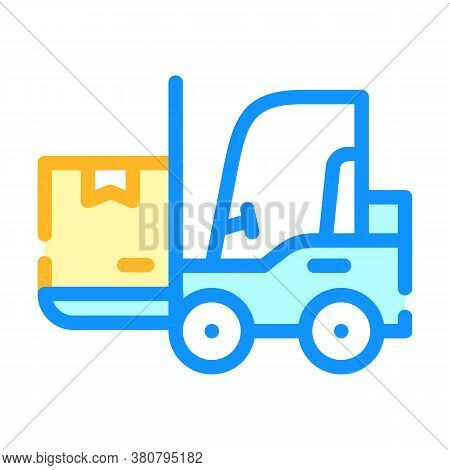 Warehouse Loader With Box Color Icon Vector Illustration