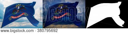 Flags Of The States Of Usa. State Of North Dakota Flag. 3d Illustration. Set Of 2 Flags And Alpha Ma
