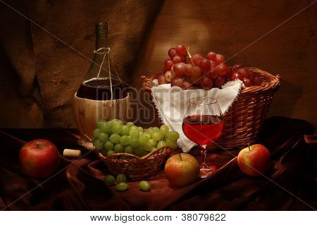 Retro Still Life With Wine And Fruits