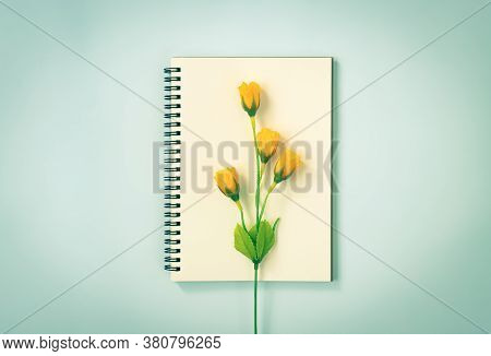 Spiral Notebook Or Spring Notebook In Unlined Type And 4 Orange Flowers At Center On Blue Pastel Min