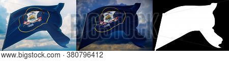Flags Of The States Of Usa. State Of Utah Flag. 3d Illustration. Set Of 2 Flags And Alpha Matte Imag