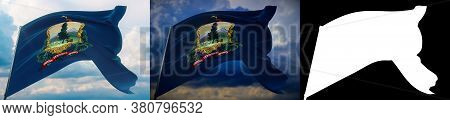 Flags Of The States Of Usa. State Of Vermont Flag. 3d Illustration. Set Of 2 Flags And Alpha Matte I
