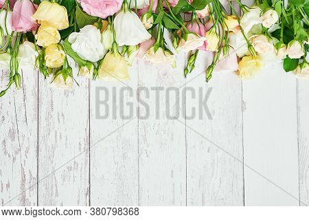 Flowers For Women's Day. Mother's Day Greeting Card. Bouquet Of Flowers Eustoma And Roses In Vase. H