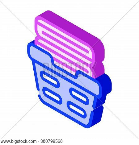 Washed Clean Clothes In Basket Isometric Icon Vector Illustration
