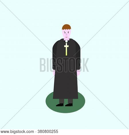 Catholic Priest. Pastor Reads Prayer, Holds Cross, Bible And Gospel, Bless Parishioners. Flat Vector