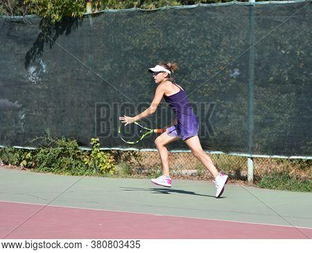 Orenburg, Russia - August 15, 2017 Year: Girl Playing Tennis