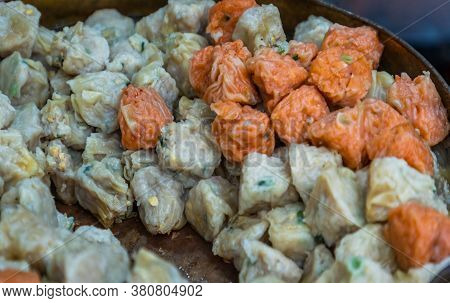 Close-up Of Shumai (shaomai) Or Kanom Jeeb' A 'dim Sum' Chinese Traditional Steamed Dumplings Food W