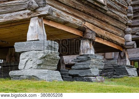 Traditional Foundation Of An Old Wooden House In Oppdal In Norway, Scandinavia