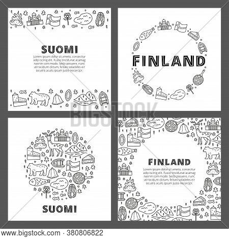 Set Of Cards With Lettering And Doodle Outline Finland Icons Including Helsinki Cathedral, Deer, Lak