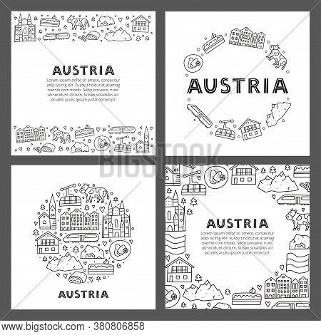 Set Of Cards With Lettering And Doodle Outline Austria Icons Including Vienna Cathedral, Train, Chal