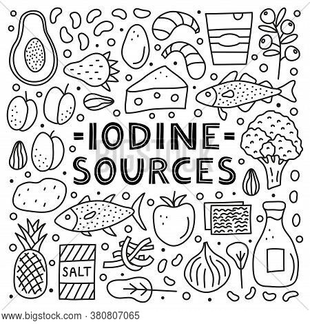 Poster With Lettering And Doodle Outline Iodine Foods Sources Including Cod, Tuna Fish, Salt, Brocco