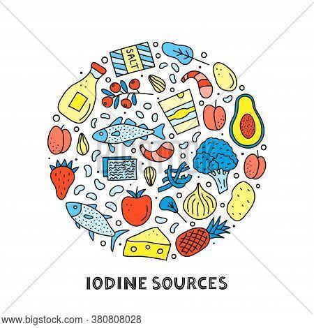 Doodle Colored Iodine Foods Sources Including Cod, Tuna Fish, Salt, Broccoli, Yogurt, Milk, Eggs, Pr