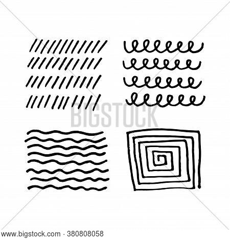 Set Of Scribble Abstract Doodle Textures Isolated On White Background. Freehand Inky Stripes, Waves,