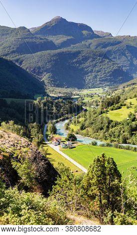 Aerial View On Fortun Village Near Skjolden In Fotundalen Valley Sogn Og Fjordane In Western Norway