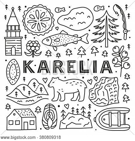 Poster With Lettering And Doodle Outline Karelia Icons Including Lake, Waterfall, Rocks, Bell Tower