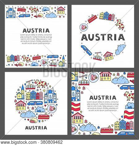 Set Of Cards With Lettering And Doodle Colored Austria Icons Including Vienna Cathedral, Train, Chal