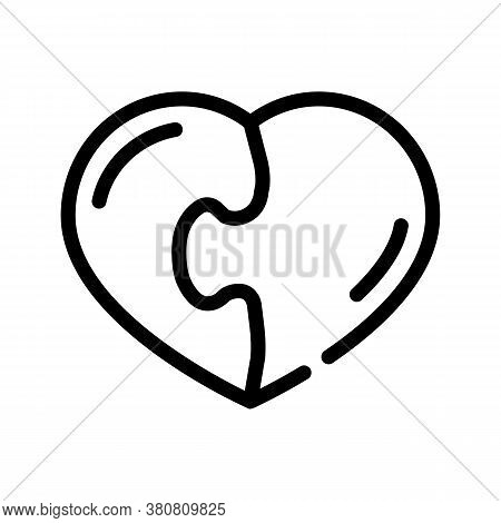 Heart Found Soul Mate Line Icon Vector Illustration