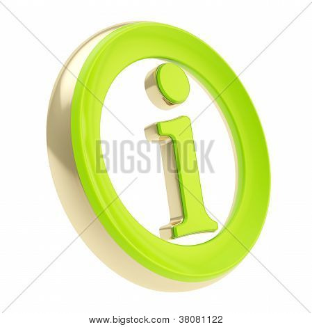 Green glossy info I letter in a golden circle as information emblem icon isolated on white poster