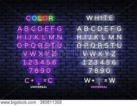 Neon Light Alphabet. Exclusive Swatch Color Control. Neon Light 3d Alphabet, Extra Glowing Font. Nig