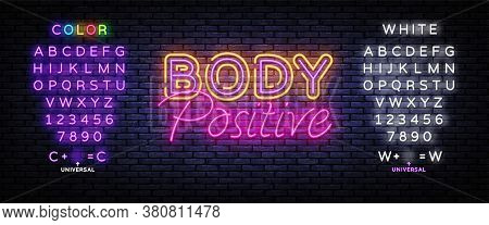 Body Positive Neon Sign Vector. Neon Design Template, Light Banner, Night Signboard, Nightly Bright