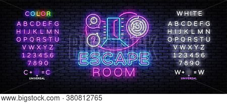 Real-life Room Escape Neon Sign Vector. Quest Game Poster Neon Design Temlate. Editing Text Neon Sig