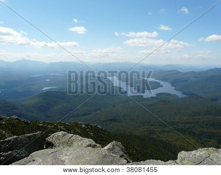 View of Lake Placid from Whiteface Mountain, Adirondacks, NY, USA